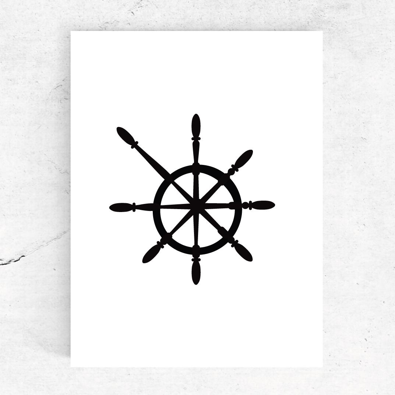 Studio-Tosca-illustratie-stuurwiel-ansichtkaart-marine-nautic-nautisch
