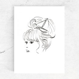 Ansichtkaart 'meisje met boot in het haar'