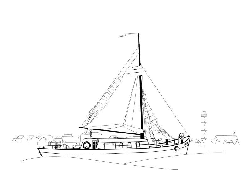 EH23-Meiny Aline Studio Tosca Illustratie nautisch nautic marine boot zeil